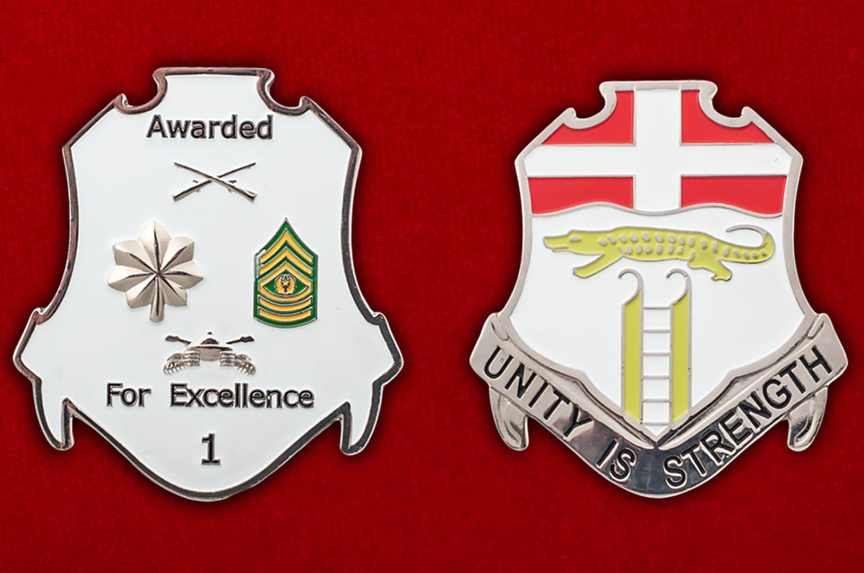 Челлендж коин 6-го пехотного полка Армии США - аверс и реверс