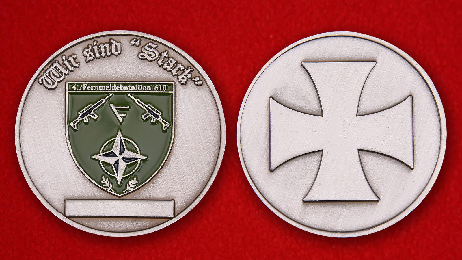 Челлендж коин 610-го батальона связиБундесвера - аверс и реверс