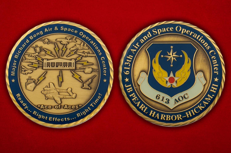 Челлендж коин 613-го Ценра Воздушно-космических операций авиабазы Хикэм, Перл-Харбор - аверс и реверс