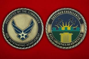 Челлендж коин 633-ей эскадрильи материально-тежнического обслуживания ВВС США - аверс и реверс