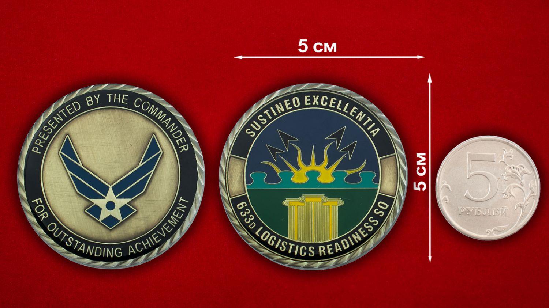 Челлендж коин 633-ей эскадрильи материально-тежнического обслуживания ВВС США - сравнительный размер