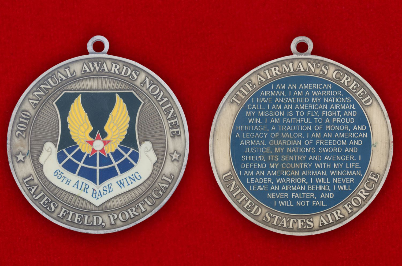 Челлендж коин 65-й группы ВВС США на авиабазе Лажеш Филд (Португалия) - аверс и реверс