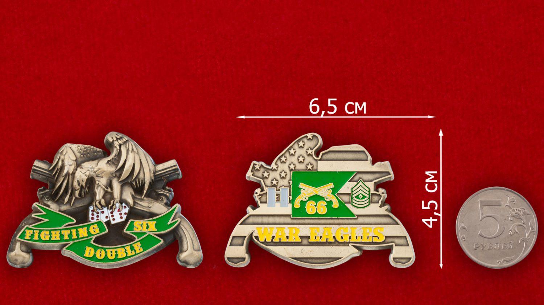 Челлендж коин 66-й роты Военной полиции Армии США - сравнтельный размер