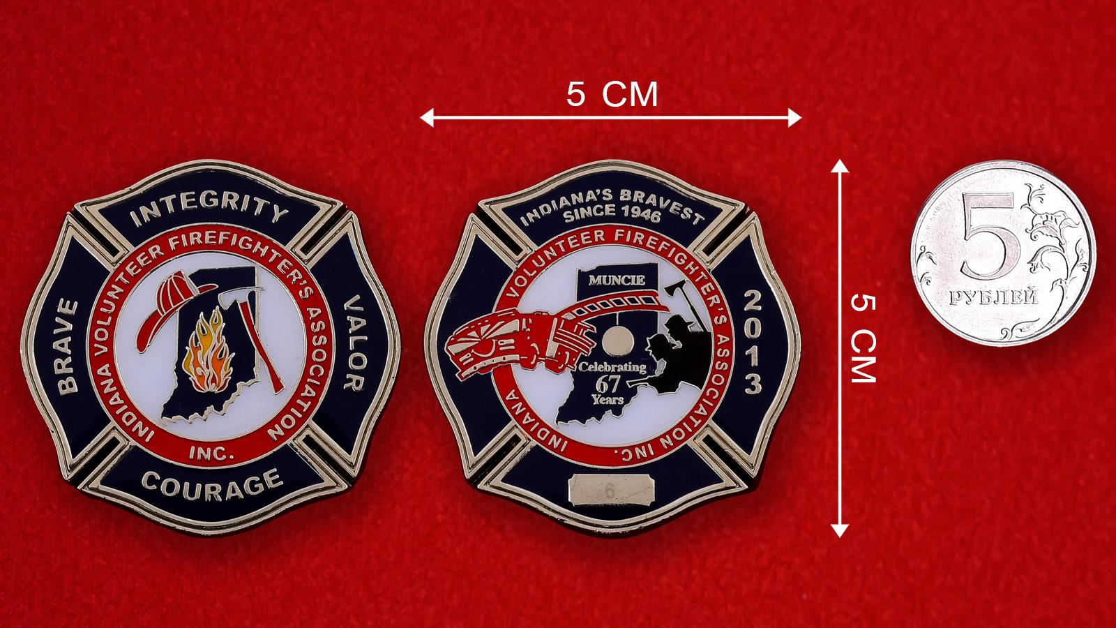 """Челлендж коин """"67 лет Добровольной Пожарной охране штата Индиана"""""""
