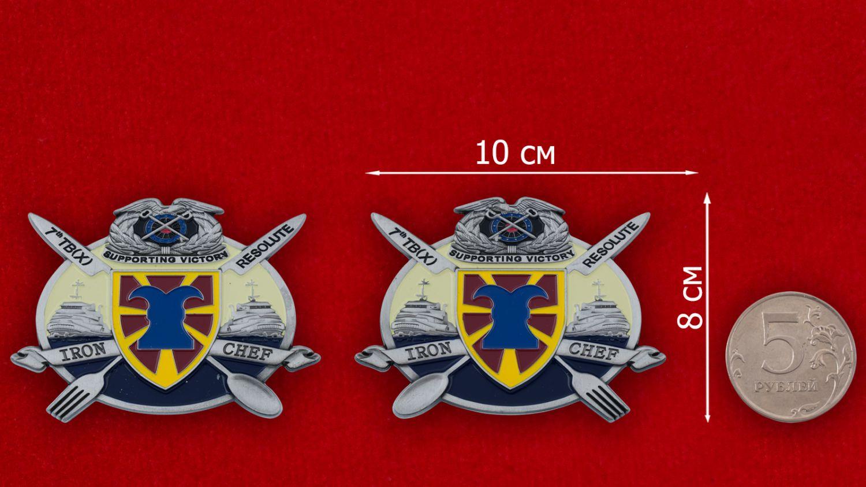 Челлендж коин 7-й Экспедиционной Транспортной бригады Армии США - сравнительный размер