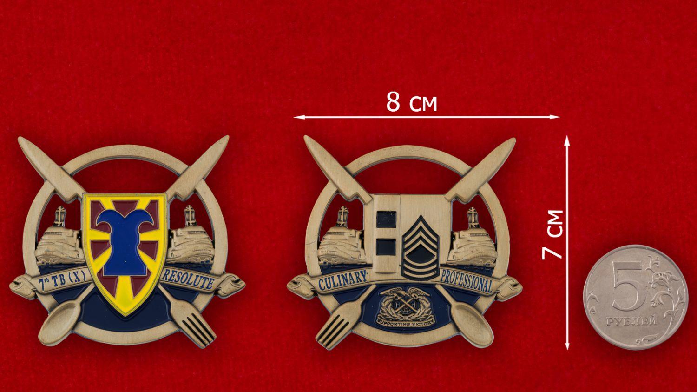 Челлендж коин 7-й Экспедиционной Транспортной бригады материально-технического снабжения - сравнительный размер