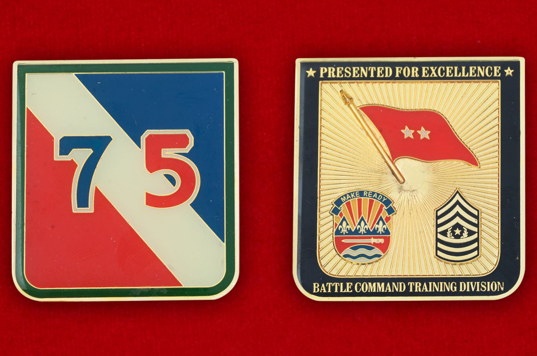 Челлендж коин 75-й Учебной дивизии Армии резерва США - аверс и реверс