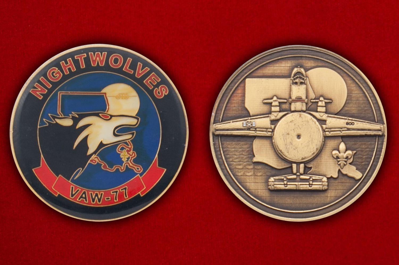 Челлендж коин 77-й эскадрильи радиолокационной разведки ВМС США - аверс и реверс