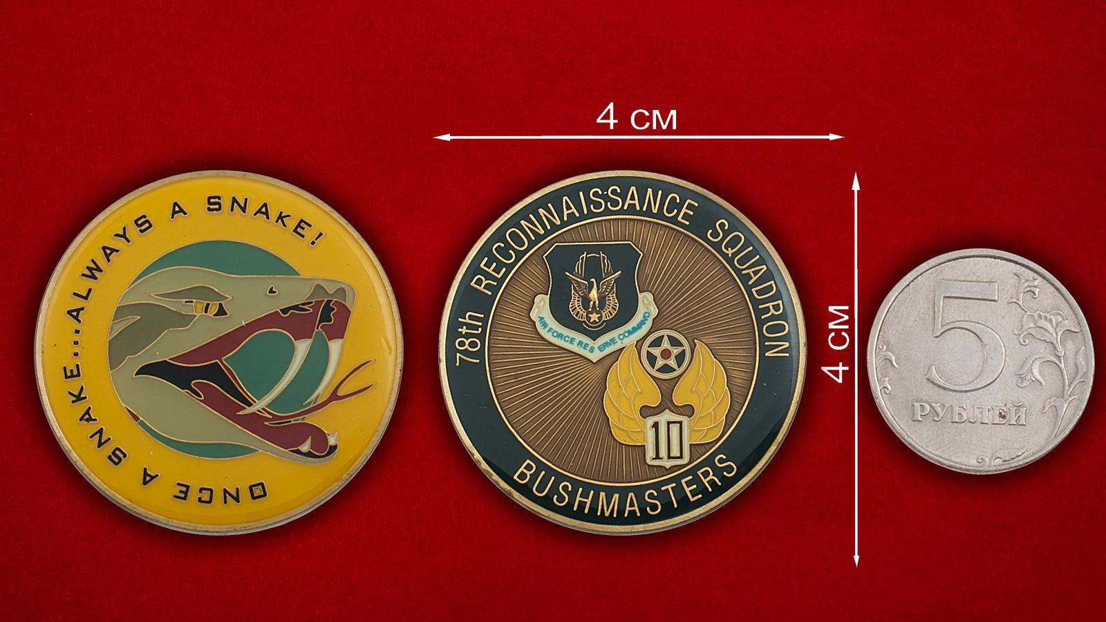 """Челлендж коин 78-й Разведывательной эскадрильи """"Бушмейстер"""" - сравнительный размер"""