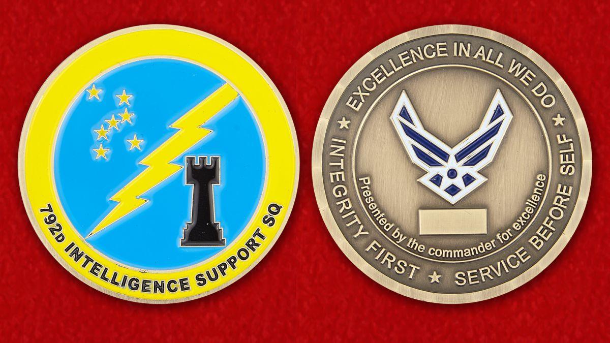 "Челлендж коин ""792-й эскадрилье снабжения от командира за отличную службу"" - аверс и реверс"