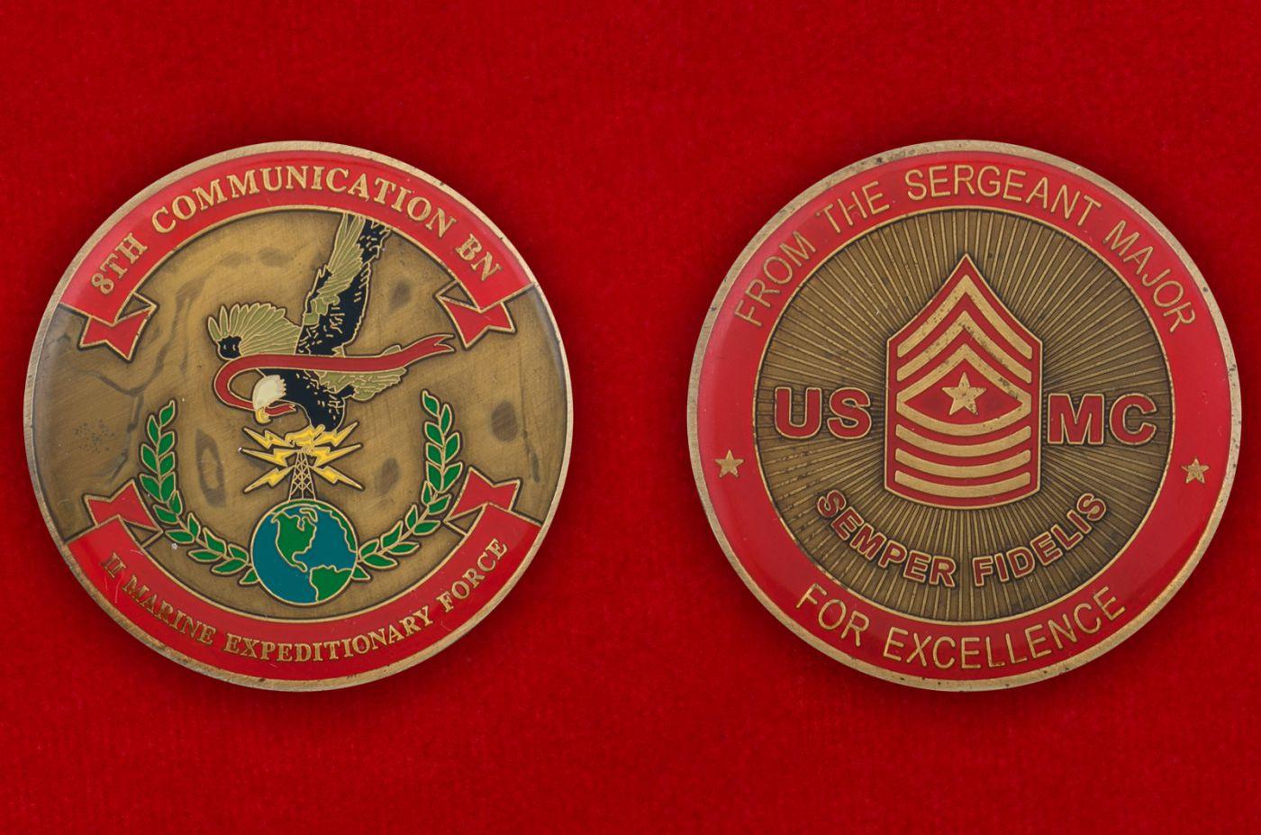 Челлендж коин 8-го батальона связи 2-го Экспедиционного Корпуса Морской пехоты США - аверс и реверс