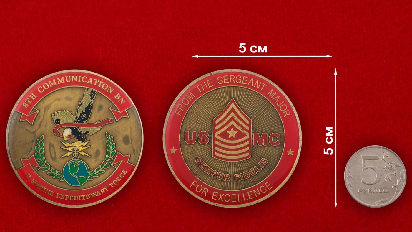 Челлендж коин 8-го батальона связи 2-го Экспедиционного Корпуса Морской пехоты США - сравнительный размер