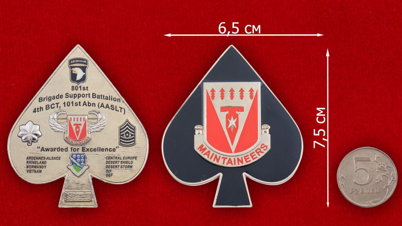 Челлендж коин 801-го батальона 4-й Бригадной тактической группы 101-й дивизии ВДВ США - сравнительный размер