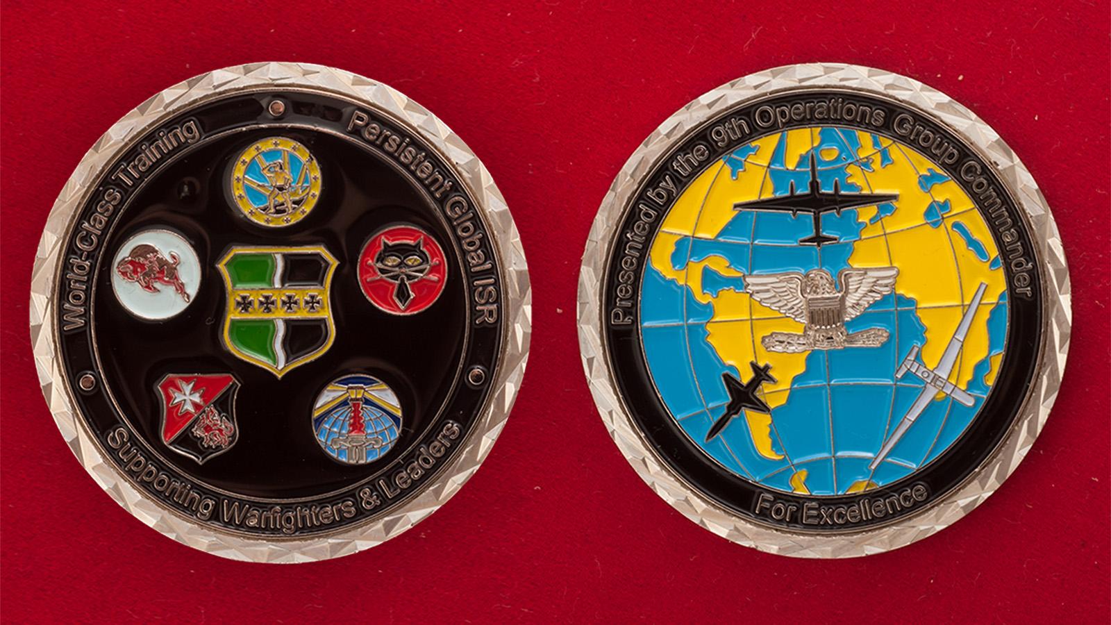 Челлендж коин 9-й оперативной группы ВВС США - аверс и реверс