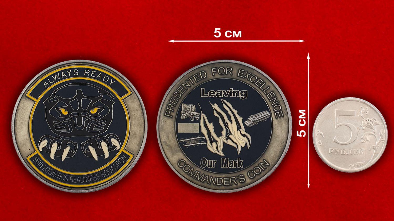 Челлендж коин 96-й эскадрильи материально- технического обеспечения - сравнительный размер