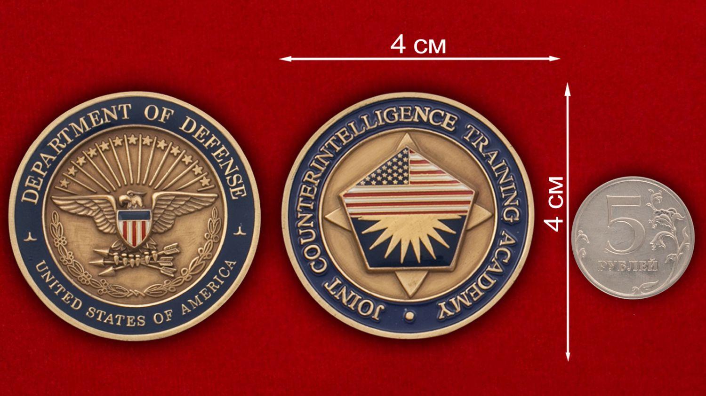 Челлендж коин Академии Контрразведки - сравнительный размер