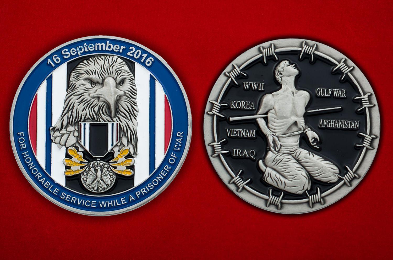 """Челлендж коин """"Медаль американских военнопленных"""" - аверс и реверс"""