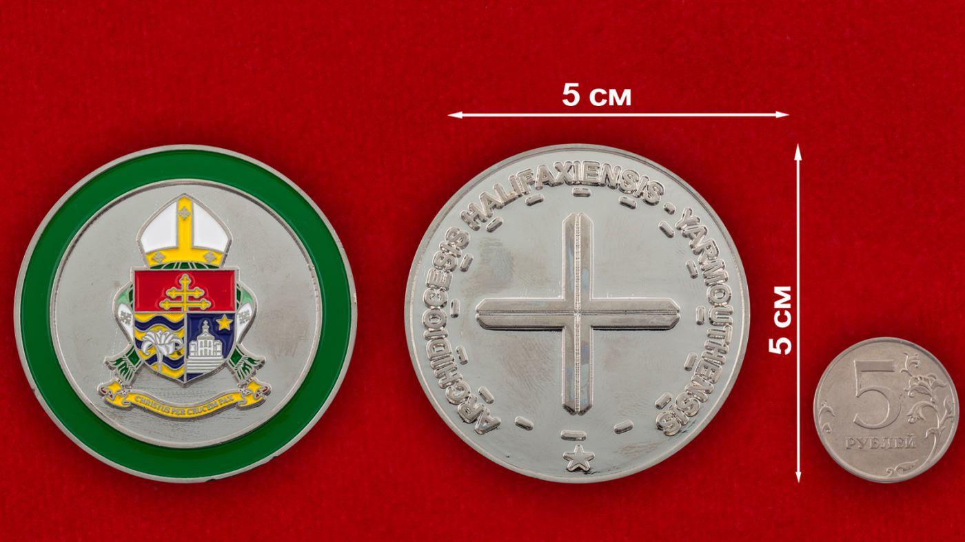 Челлендж коин Архиепархии Галифакса (Новая Шотландия, Канада) - сравнительный размер