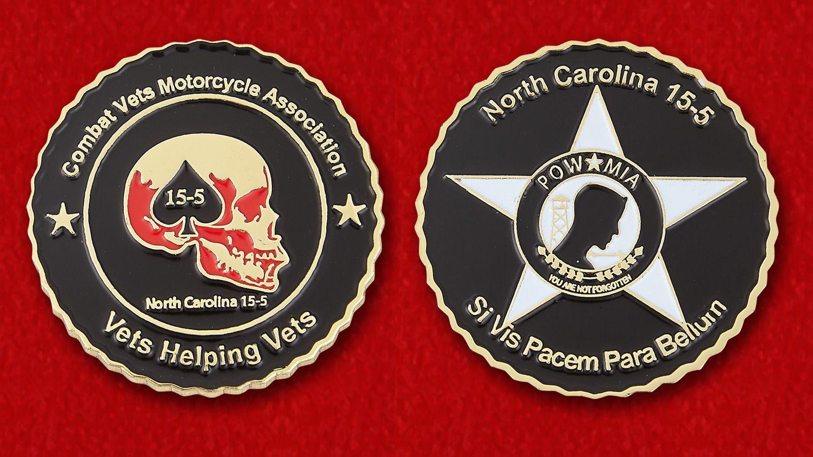 Челлендж коин Ассоциации мотоциклистов - ветеранов ВС США - аверс и реверс
