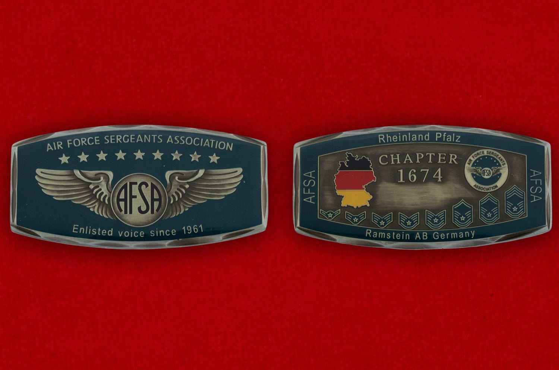 """Челлендж коин Ассоциации сержантов ВВС США базы """"Рамштайн"""" - аверс и реверс"""