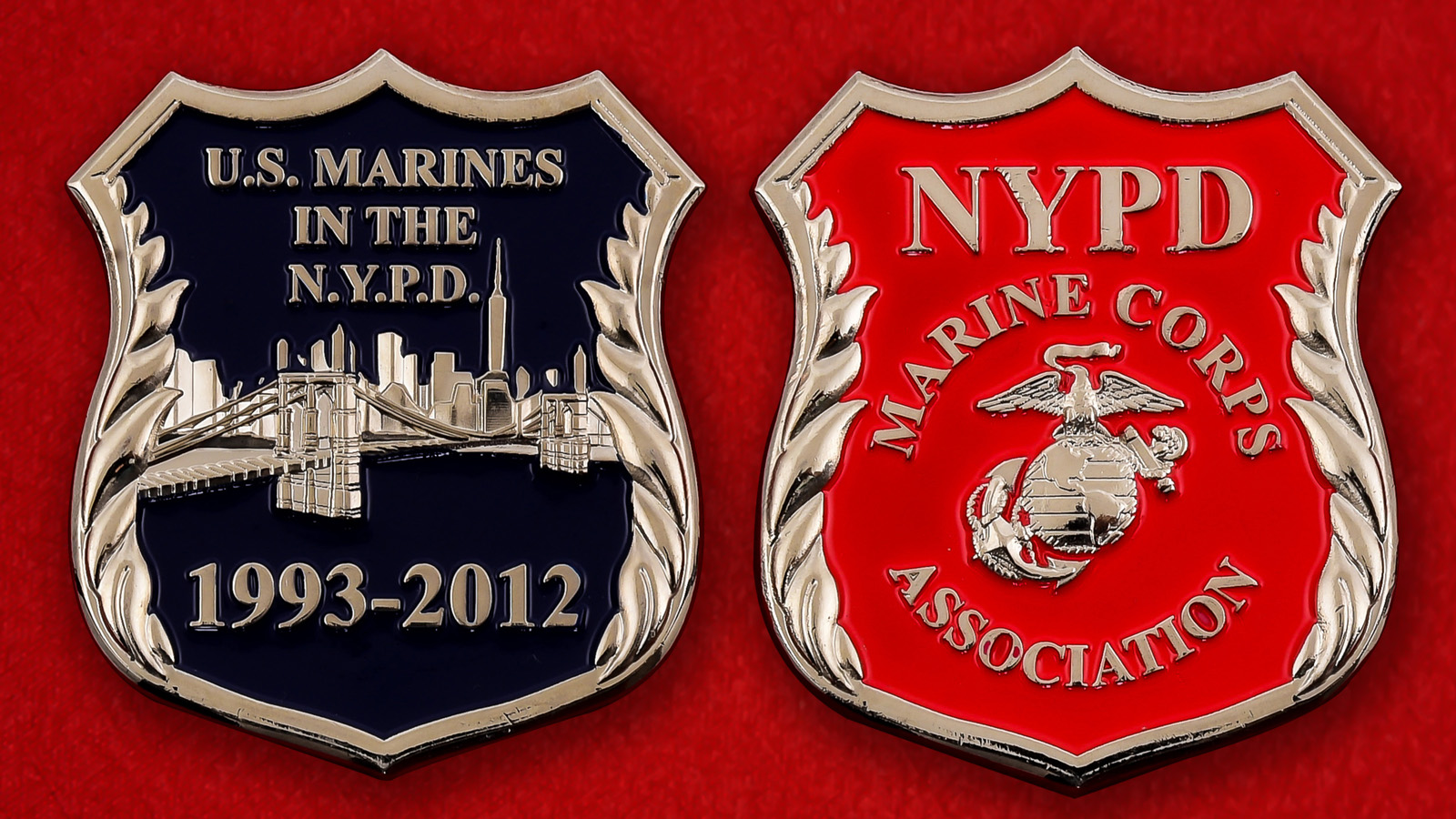 """Челлендж коин """"Ассоциация Корпуса Моской пехоты США в полиции Нью-Йорка"""""""