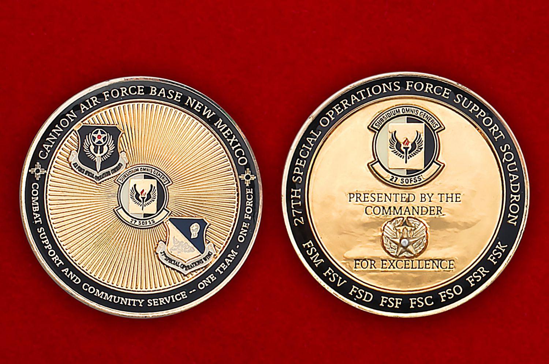 Челлендж коин авиабазы Кэннон ВВС США - аверс и реверс