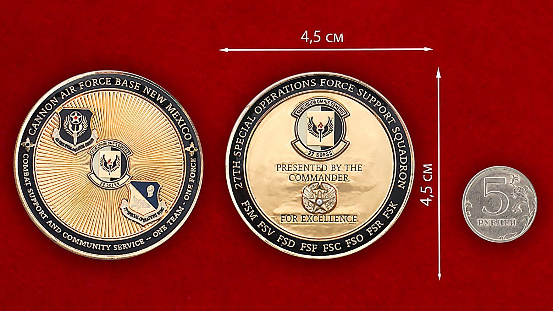 Челлендж коин авиабазы Кэннон ВВС США - сравнительный размер