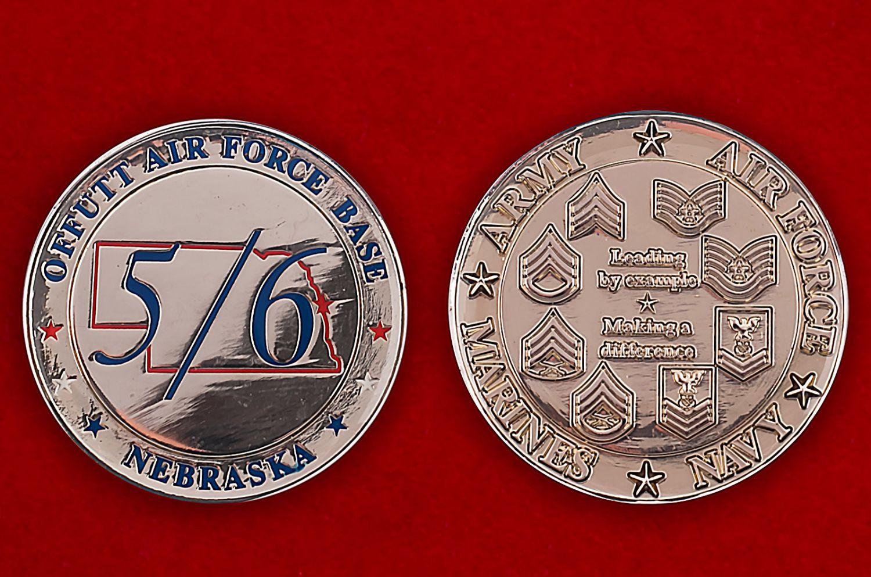 Челлендж коин авиабазы Оффат ВВС США, Небраска - аверс и реверс