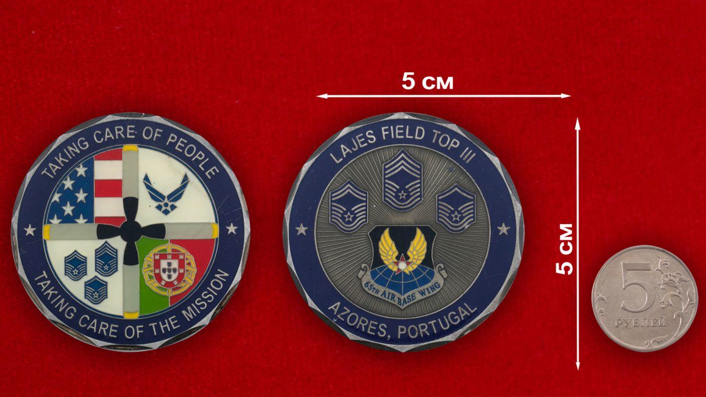 Челлендж коин авиагруппы ВВС США на базе Лажеш-Филд, Португалия - сравнительный размер