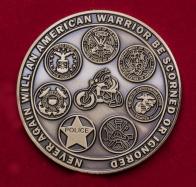 Челлендж коин байкерского клуба ветеранов армии США Warrior's Watch в память о пропавших без вести и попавших в плен военнослужащих
