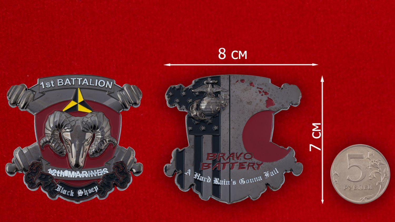 "Челлендж коин батареи ""Альфа"" 1-го батальона 12-го артиллерийского дивизиона Корпуса Морской Пехоты США - оборотная сторона"