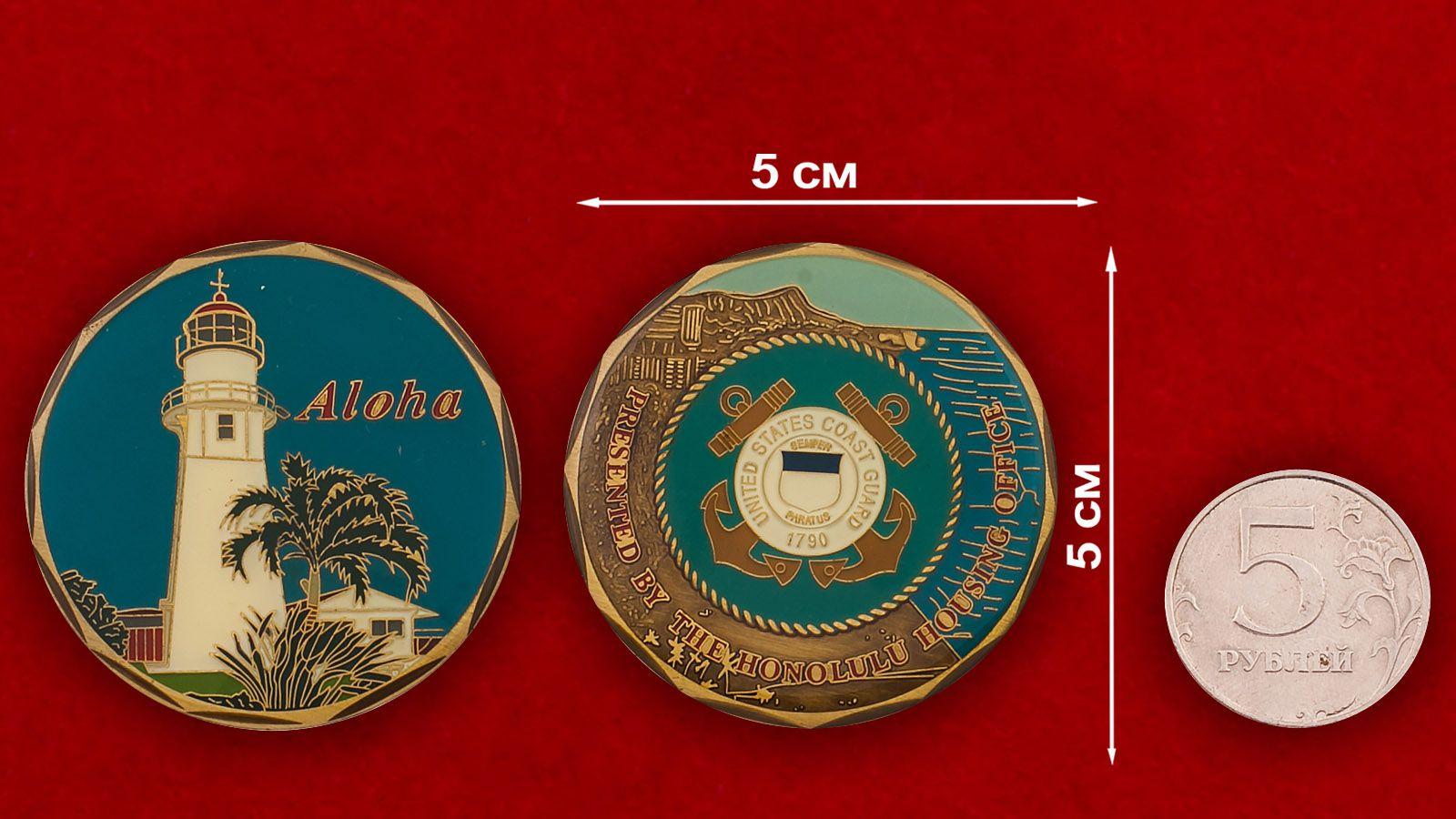 Челлендж коин Береговой охраны Гонулулу - сравнительный размер