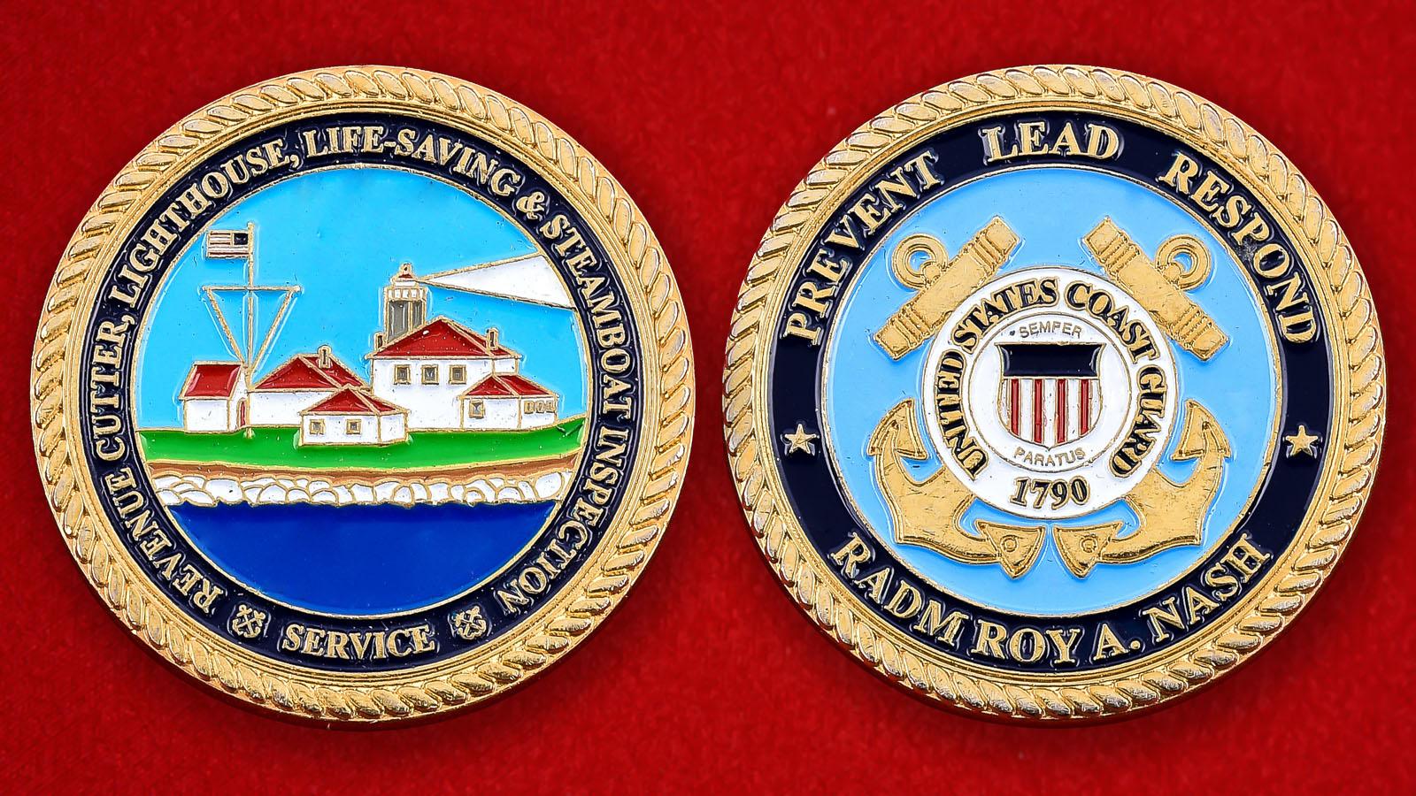 """Челлендж коин Береговой охраны США """"Контр-адмирал Рой А. Нэш"""""""