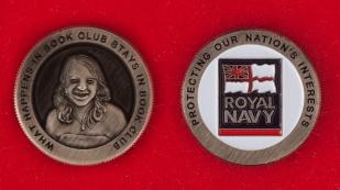 Челлендж коин библиотечного клуба Королевских ВМС Великобритании - аверс и реверс