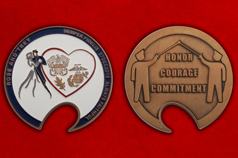 Челлендж коин Благотворительного фонда поддержки раненым ветеранам ВС США и их семьям - аверс и реверс