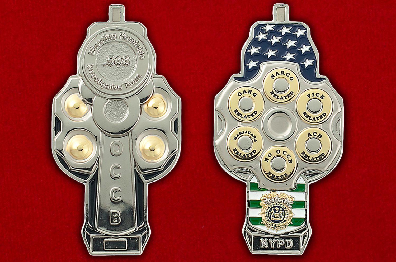 Челлендж коин Бюро по борьбе с организованной преступностью департамента полиции Нью-Йорка - аверс и реверс