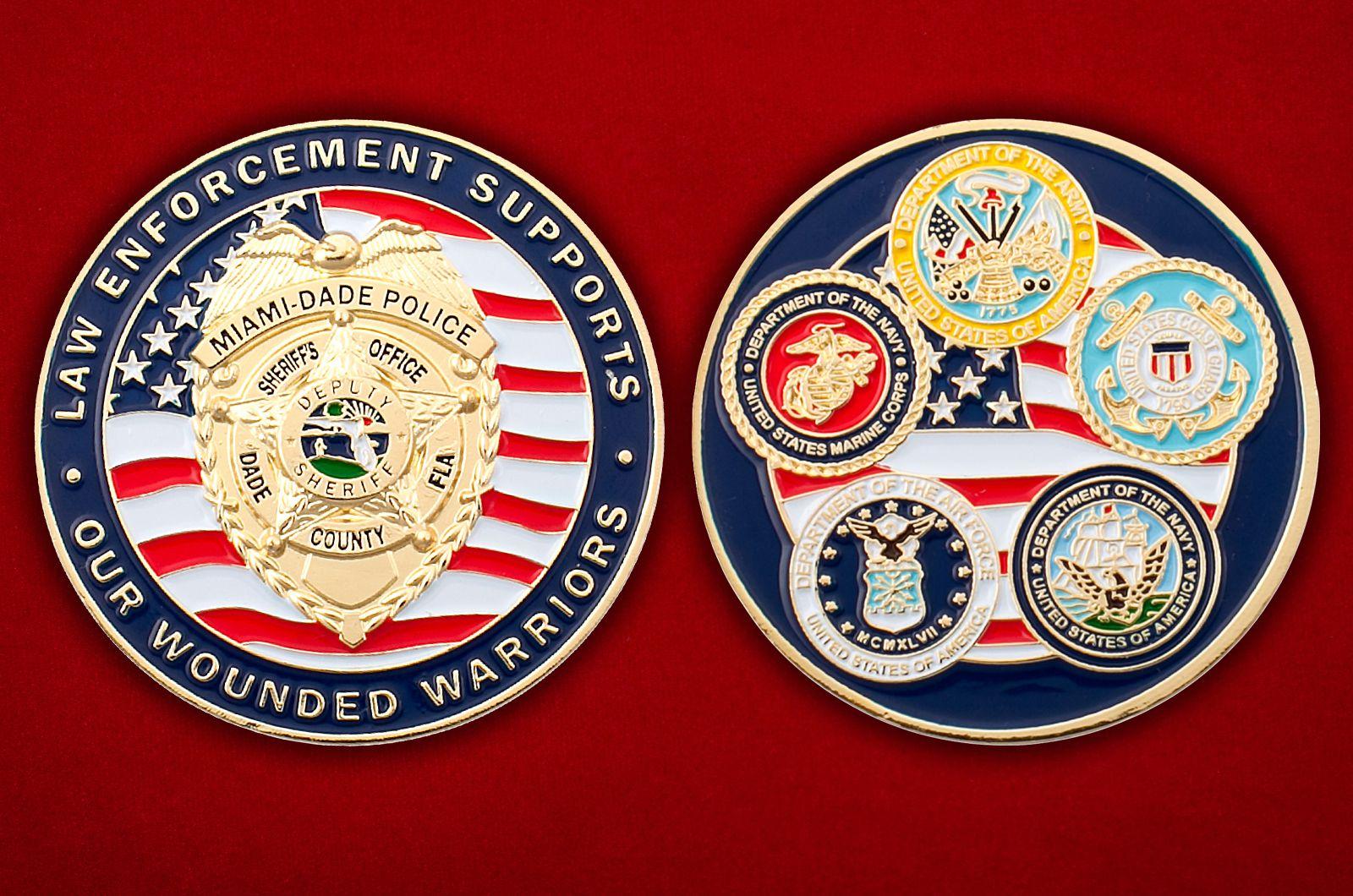 Челлендж коин бывших военнослужащих в полиции округа Майами-Дейд, Флорида - аверс и реверс