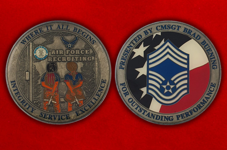 Челлендж коин Департамента подбора персонала ВВС США - аверс и реверс