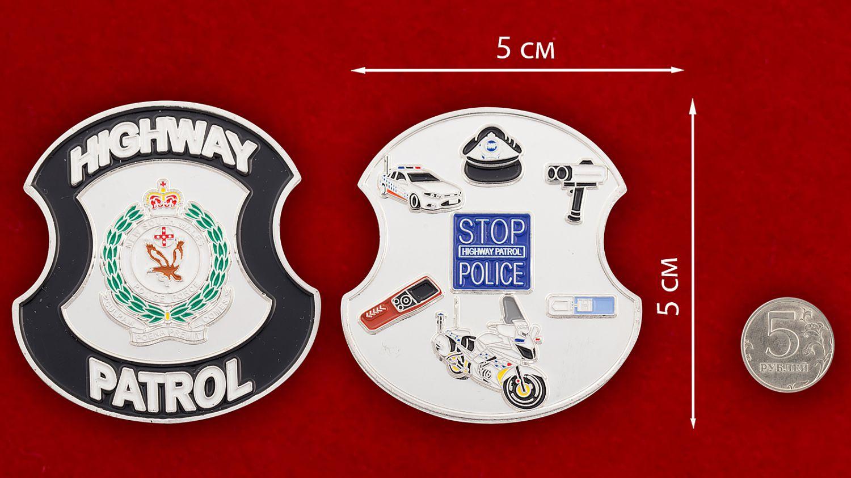 Челлендж коин Дорожного патруля полиции Нового Южного Уэльса (Австралия) - сравнительный размер