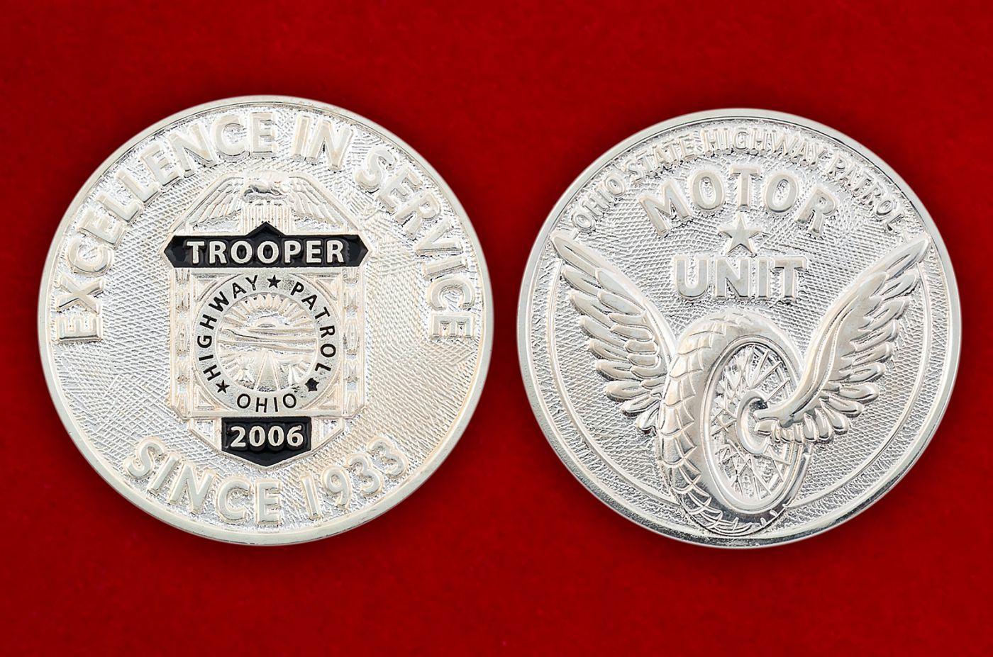 Челлендж коин Дорожного патруля штата Огайо - аверс и реверс