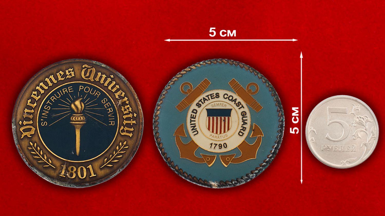 Челлендж коин факультета подготовки военнослужащих при Университете Винсеннес - сравнительный размер
