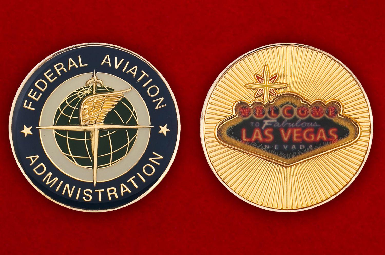 Челлендж коин Федерального управления гражданской авиации в Лас-Вегасе - аверс и реверс