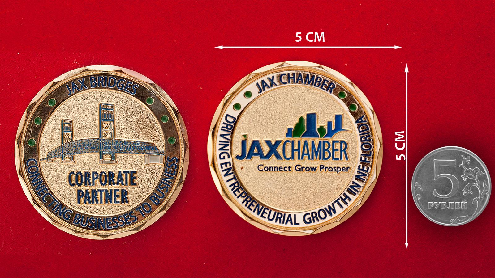Челлендж коин финансово-промышленной группы Jax Chamber - сравнительный размер