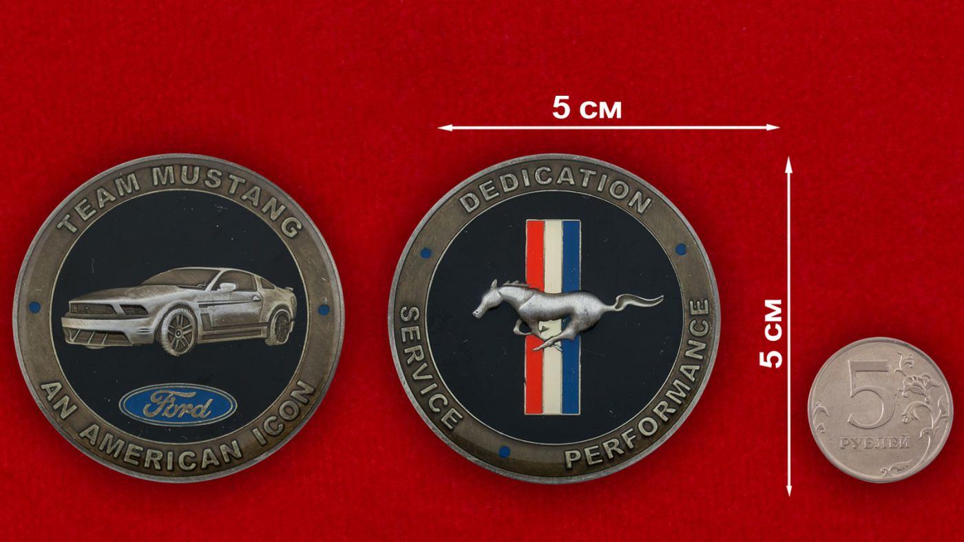 """Челлендж коин """"Форд-Мустанг"""" - сравнительный размер"""
