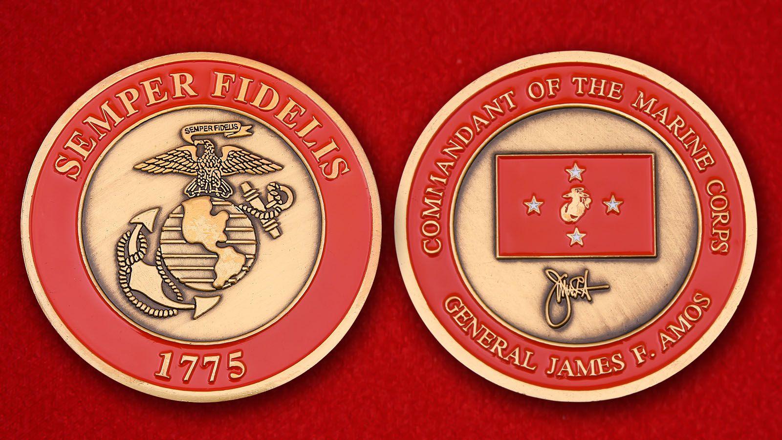 """Челлендж коин """"Главком Корпуса Морской пехоты генерал Джеймс Ф. Эймос"""" - аверс и реверс"""