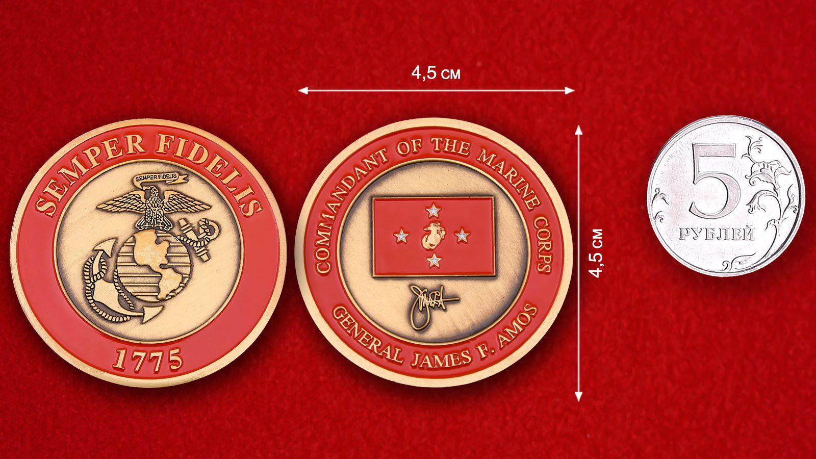 """Челлендж коин """"Главком Корпуса Морской пехоты генерал Джеймс Ф. Эймос"""" -  сравнительный размер"""