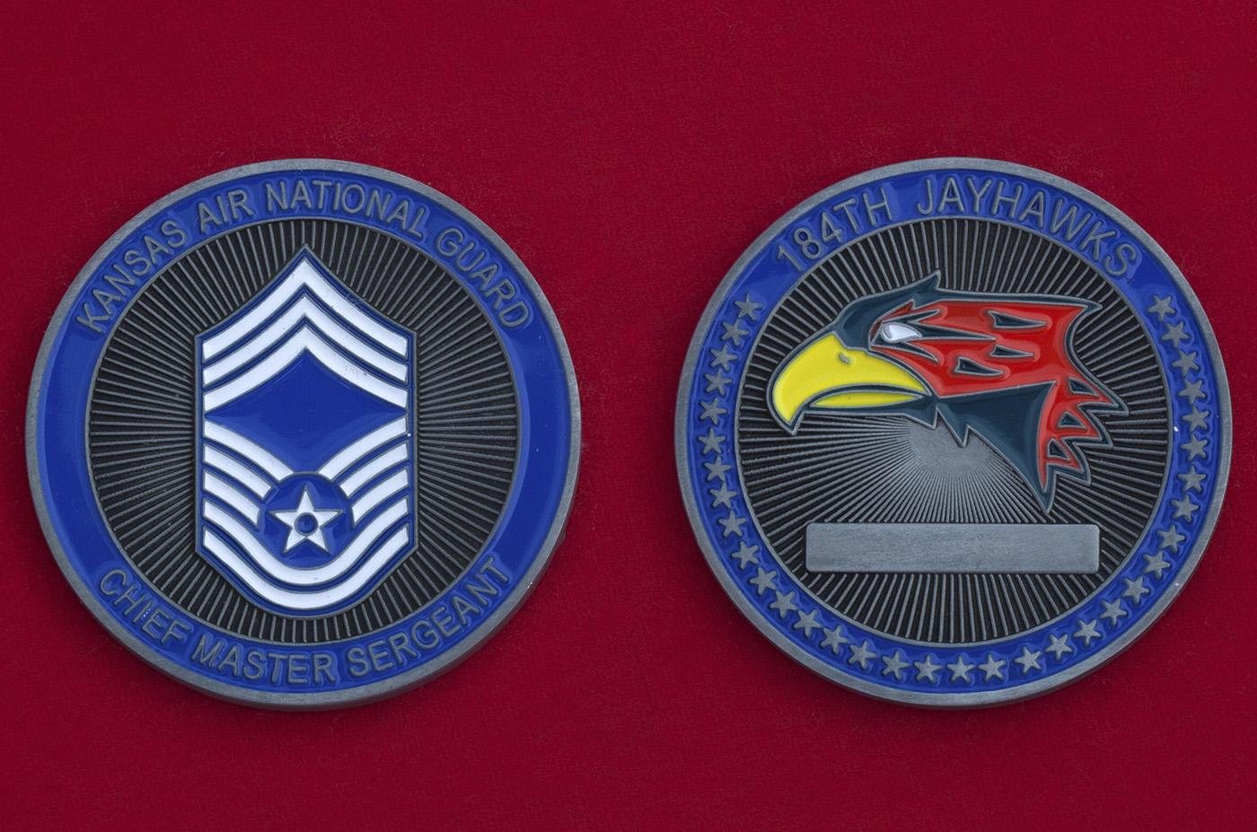 Челлендж коин главного мастер-сержанта 184-го разведывательного крыла ВВС Нацгвардии США