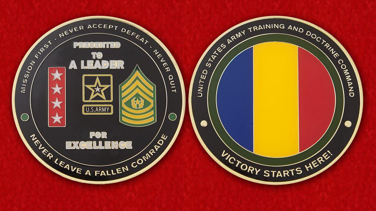 Челлендж коин Главного Управления боевой подготовки Сухопутных войск армии США - аверс и реверс