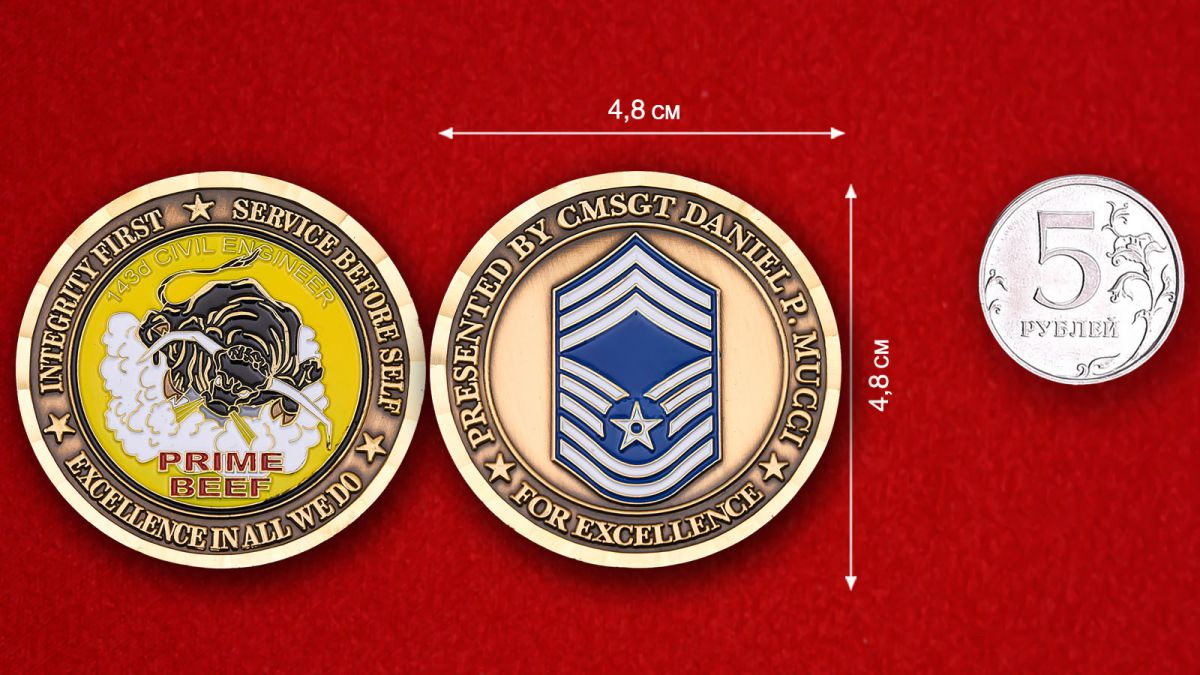 """Челлендж коин """"Главному мастер-сержанту 143-ей Инженерно-строительной эскадрильи Даниэлю П. Муцци""""- сравнительный размер"""