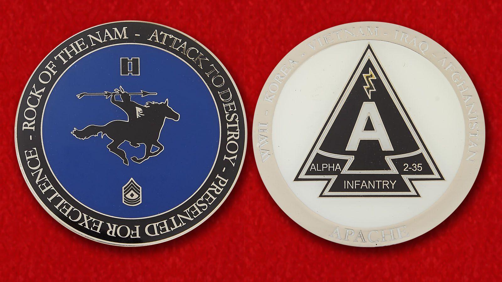 Челлендж коин группы Альфа 2-го батальона 35-го Пехотного полка армии США - аверс и реверс